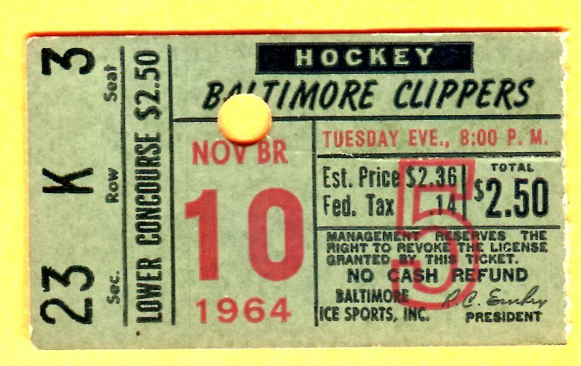1964 AHL Baltimore Clippers hockey ticket stub