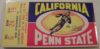 1965 NCAAF Penn State at California ticket stub