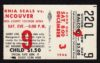 1966 WHL Oakland Seals ticket stub vs Vancouver