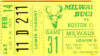 1970 NBA Celtics at Bucks Abdul Jabaar 44 point ticket stub