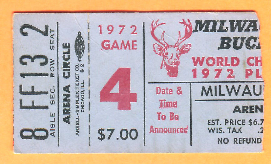 1972 NBA Playoffs Lakers at Bucks Wilt vs Kareem ticket stub