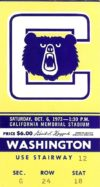 1973 NCAAF Washington at California ticket stub