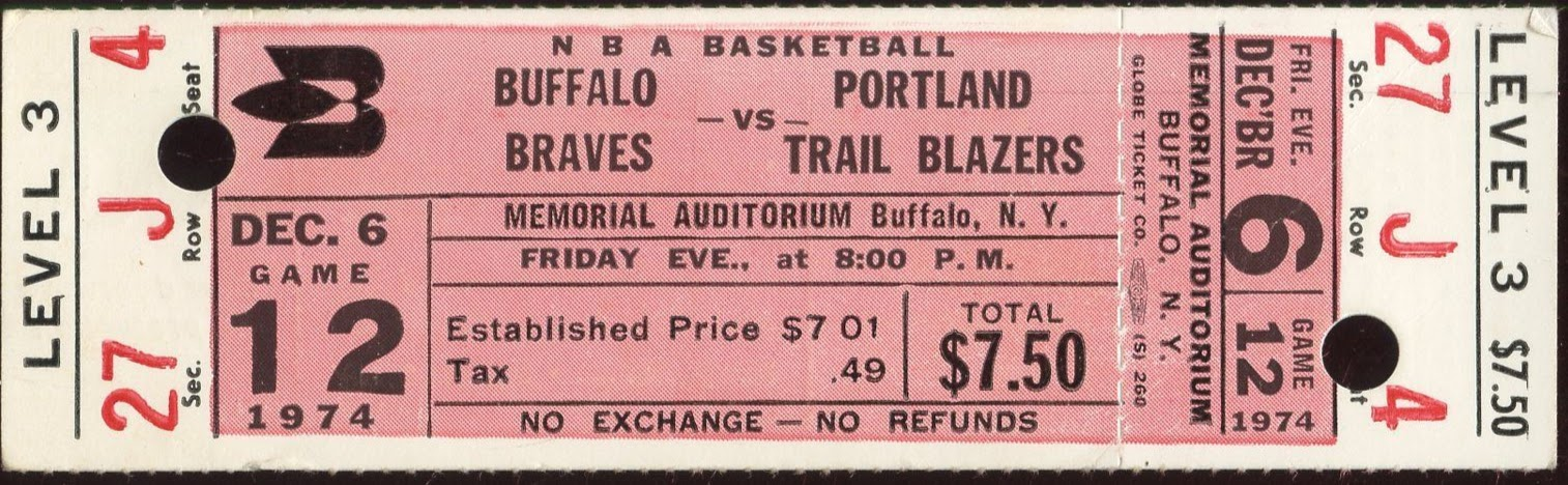 1974 NBA Trail Blazers at Braves ticket