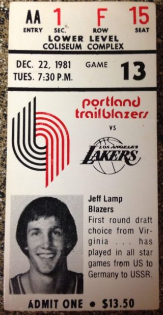 1981 NBA Lakers at Trail Blazers ticket stub