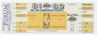 1982 NBA Finals Game 6 76ers at Lakers ticket 80