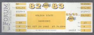 1982 NBA Warriors at Lakers James Worthy debut ticket stub