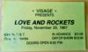 1987 Love and Rockets ticket stub
