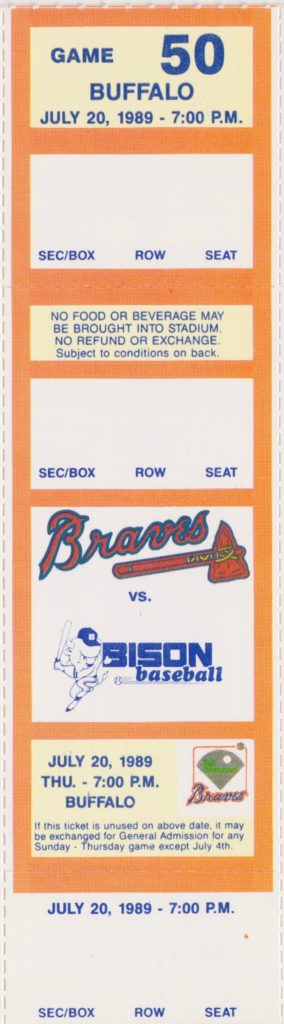 1989 MiLB International League Buffalo Bison at Richmond Braves ticket stub