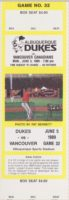 1989 MiLB PCL Vancouver Canadians at Albuquerque Dukes ticket stub