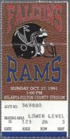 1991 NFL Rams at Falcons ticket stub