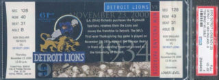 2000 NFL Patriots at Lions ticket stub Tom Brady debut
