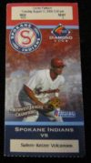 2009 MiLB Northwest League Salem Kaiser Volcanoes at Spokane Indians ticket stub