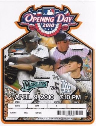 2010 MLB Dodgers at Marlins Opening Day Ticket