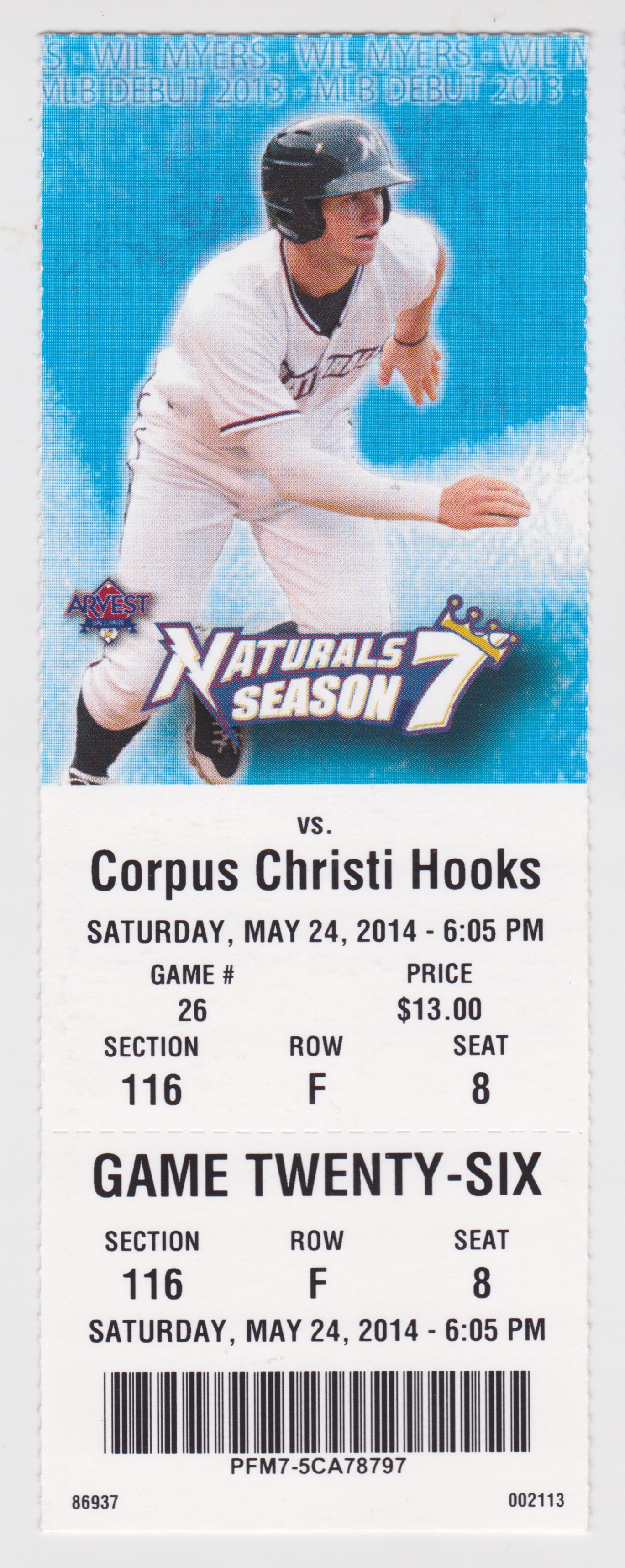 2014 Northwest Arkansas Naturals ticket stub vs Corpus Christi Hooks