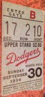 1956 MLB Jackie Robinson Last Game Ticket Stub Brooklyn Dodgers