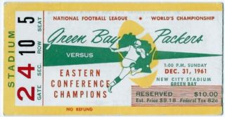 1961 NFL Championship Packers vs Giants ticket stub 409