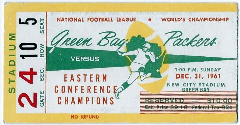 1961 NFL Championship Packers vs Giants ticket stub