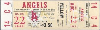 1965 MLB Twins at Angels ticket stub
