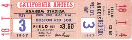1967 MLB Red Sox at Angels ticket stub