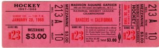 1968 NHL Seals at Rangers full ticket