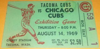1969 MLB PCL Chicago Cubs at Tacoma Cubs ticket stub