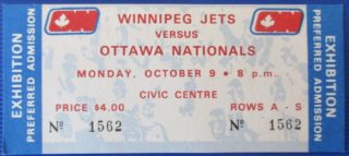 1972 WHA Jets at Nationals ticket stub