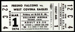 1974 PSHL West Covina Eagles at Fresno Falcons ticket stub