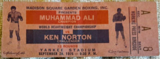 1976 Boxing Muhammad Ali vs Ken Norton at Yankee Stadium ticket stub