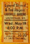 1976 Lynyrd Skynyrd Ted Nugent Live in Louisville ticket stub
