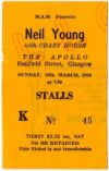1976 Neil Young and Crazy Horse Live at the Apollo Glasgow ticket stub