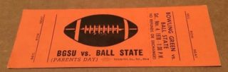 1978 NCAAF Ball State at Bowling Green ticket stub