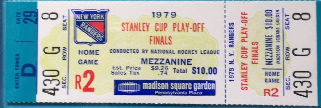 1979 Stanley Cup Final Canadiens at Rangers full ticket