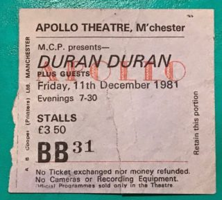 1981 Duran Duran Live at the Apollo Manchester ticket stub