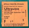 1981 Ultravox ticket stub