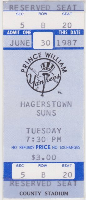 1987 MiLB Hagerstown Suns at Prince Williams Yankees ticket stub