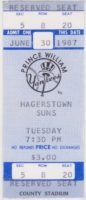 1987 MiLB Hagerstown Suns at Prince William Yankees ticket stub