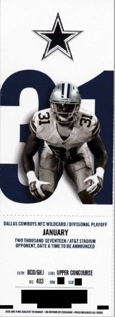 2017 NFC Playoffs Packers at Cowboys ticket stub 15