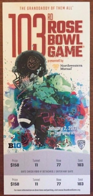 2017 Rose Bowl USC vs Penn State Ticket Stub