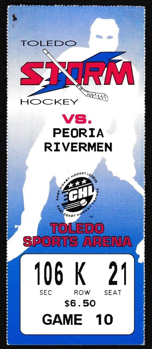 ECHL Peoria Rivermen at Toledo Storm ticket stub