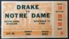1930 NCAAF Drake at Notre Dame Football Ticket Stub