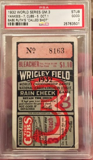 1932 World Series Babe Ruth Called Shot Ticket Stub 4750