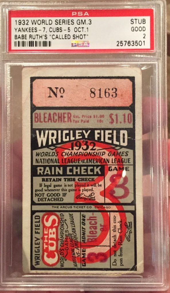 1932 World Series Babe Ruth Called Shot Ticket Stub