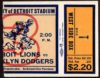 1937 AAFC Brooklyn Dodgers at Detroit Lions ticket stub