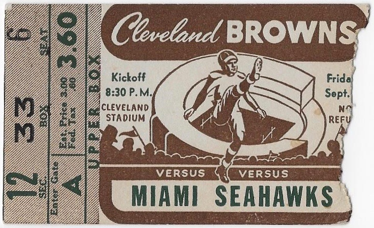 1946 AAFC Miami Seahawks at Cleveland Browns ticket stub