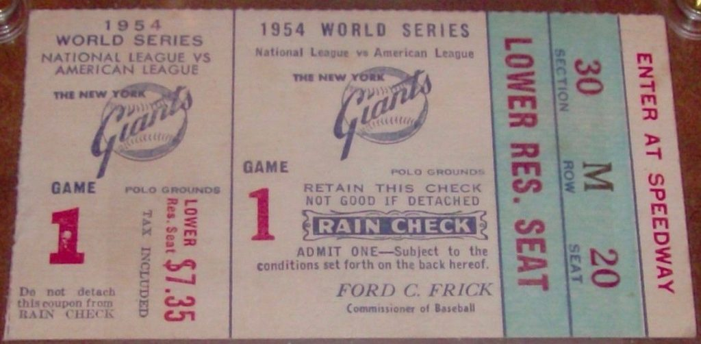 1954 World Series Game 1 Willie Mays' The Catch ticket stub