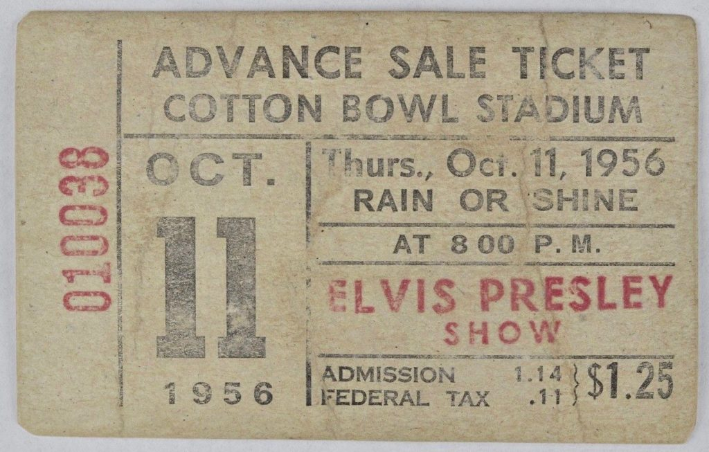1956 Elvis Presley Concert Ticket Stub Cotton Bowl Stadium