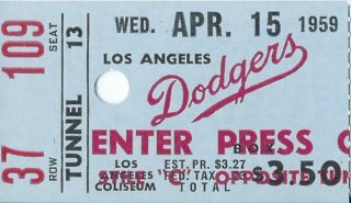 1959 MLB Cardinals at Dodgers ticket stub Bob Gibson Debut 350