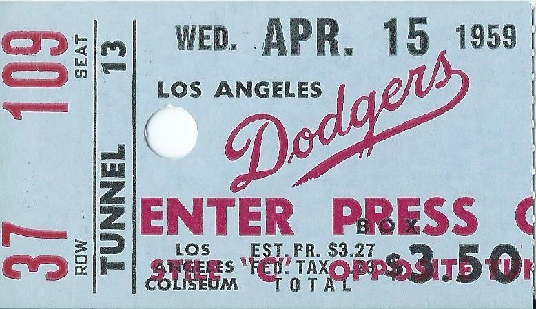 1959 MLB Cardinals at Dodgers ticket stub Bob Gibson Debut