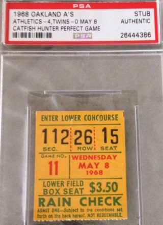 1968 MLB Twins at A's Catfish Hunter Perfect Game Ticket Stub 1000