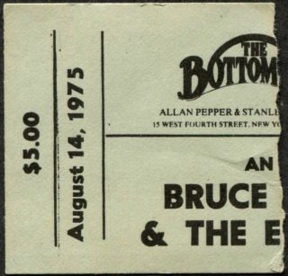 1975 Bruce Springsteen concert ticket stub Bottom Line 400